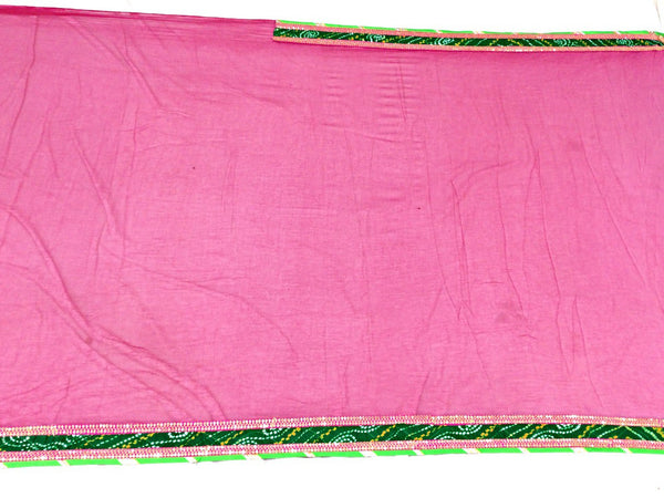 All Over Pink Color Fancy Design Pure Crepe Bandhani Saree