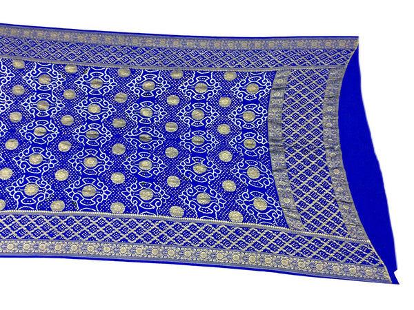 All Over Blue Color Fancy Design Banarasi Georgette Bandhani Dupatta - KalaSanskruti Retail Private Limited