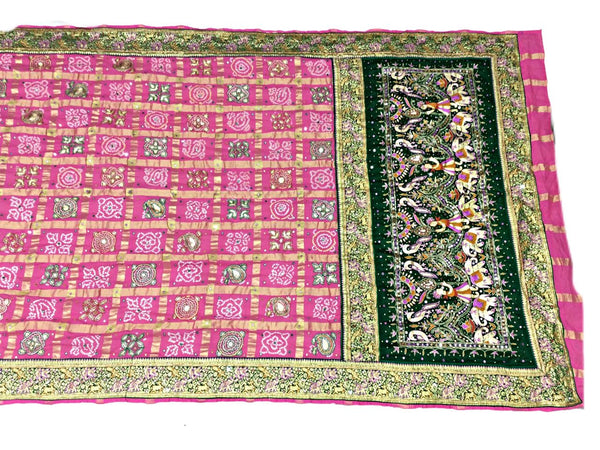 All Over Pink Color Thread And Aabhla Work Checks Design Cotton Gharchora - KalaSanskruti Retail Private Limited