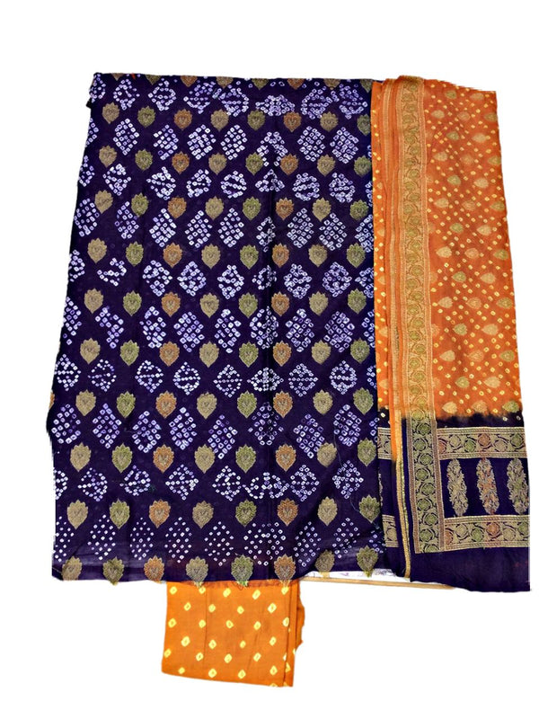 Blue And Rust Color Fancy Design Gadhwal Bandhani Dress Material
