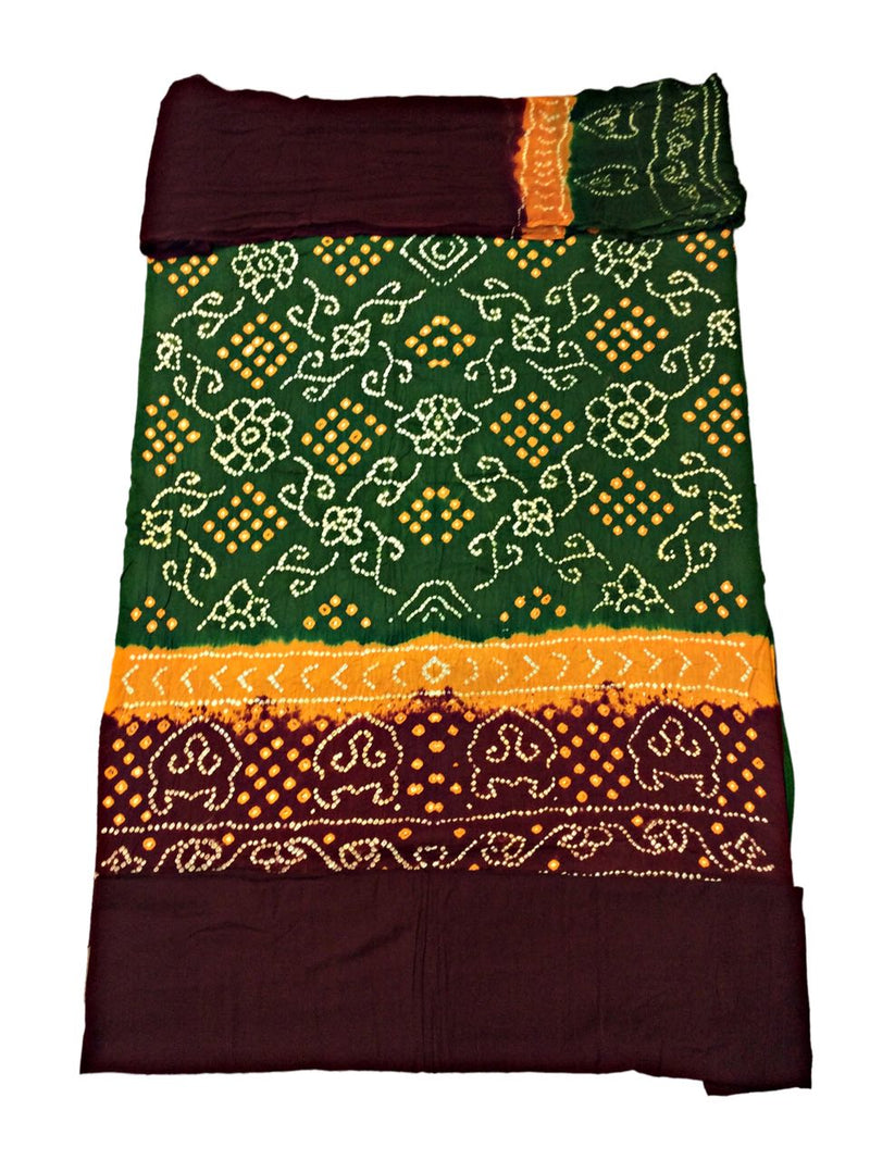 Green And Maroon Color Fancy Design Cotton Satin Bandhani Dress Material