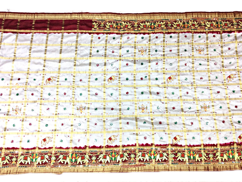 White And Maroon Color Fancy Checks Design Work Gaji Silk Panetar Saree - KalaSanskruti Retail Private Limited