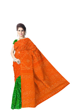 Orange And Green Color Fancy Design Banarasi georgette Bandhani Saree - KalaSanskruti Retail Private Limited