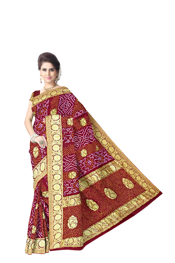 All Over Maroon Color Fancy Design Banarasi Georgette Bandhani Saree - KalaSanskruti Retail Private Limited