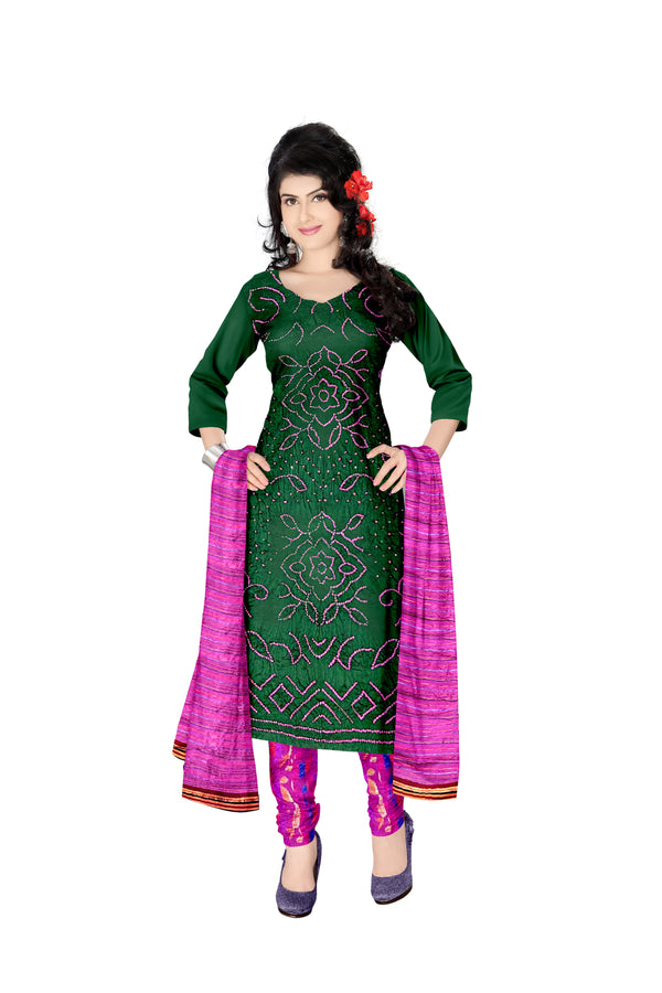 Green And Pink Color Fancy Design Cotton Satin Bandhani Dress Material