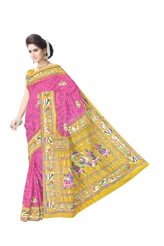 Kasab Work Design Gaji Silk Bandhani Saree