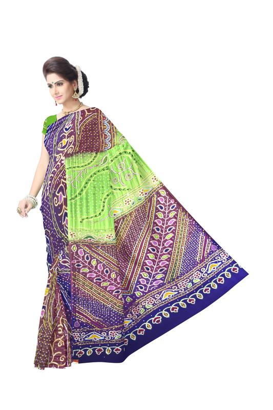 Multi Color Kasab Work Design Gaji Silk Bandhani Saree