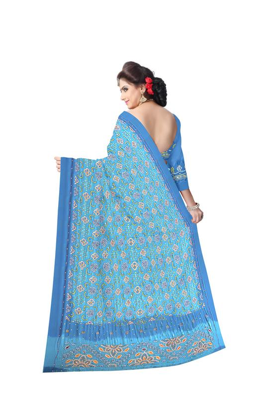 Aabhla And Thread Work Design Gaji Silk Bandhani Saree