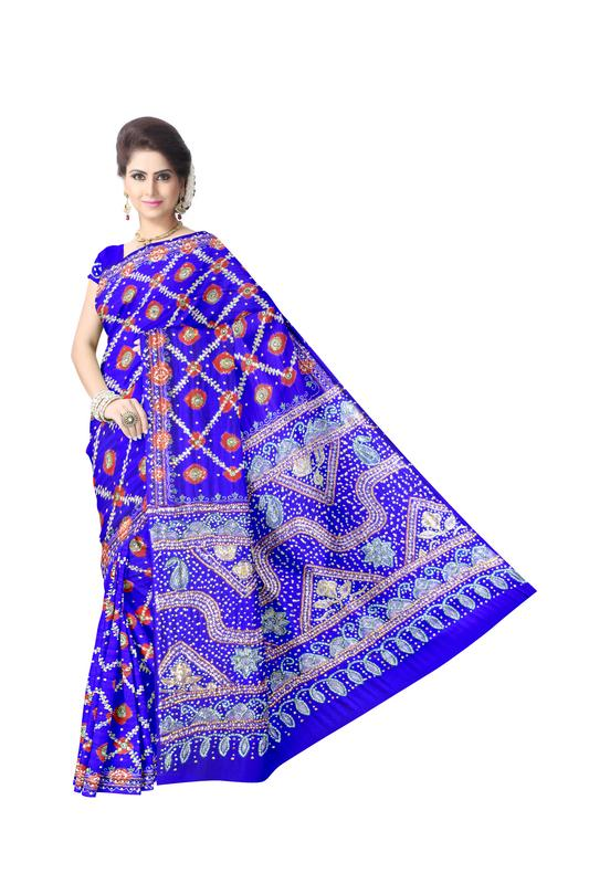 Aabhla And Thread & Diamond Work Design Gaji Silk Bandhani Saree