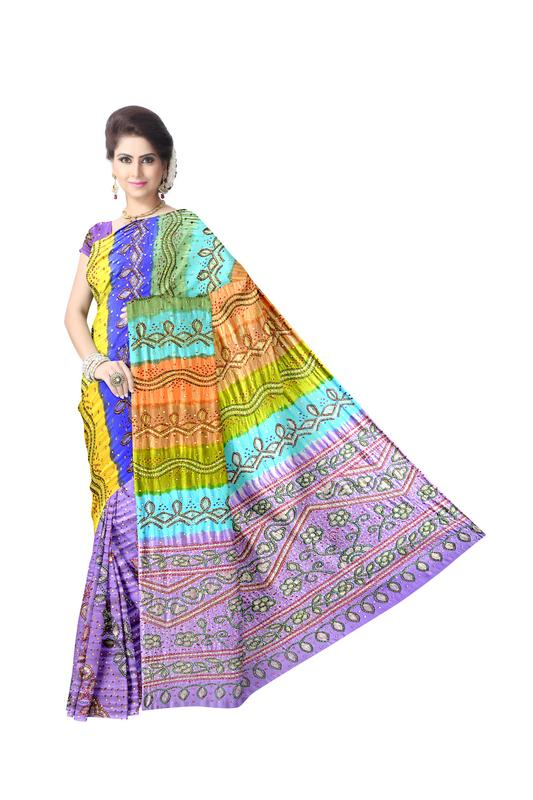 Kasab And Aabhla & Thread Work Design Gaji Silk Bandhani Saree