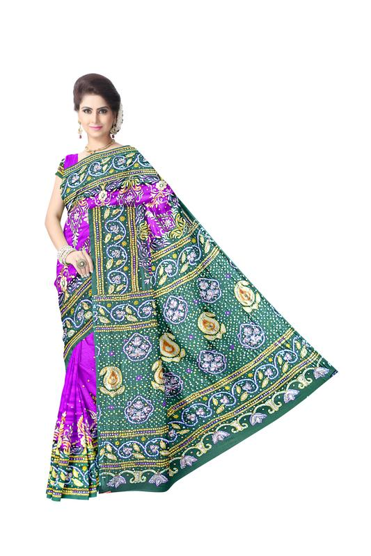 Kasab And Aabhla & Thread Work Design Gaji Silk Bandhani Saree - KalaSanskruti Retail Private Limited