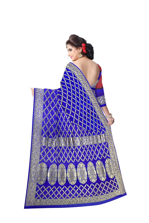All Over Blue Color Checks Design Banarasi Georgette Saree - KalaSanskruti Retail Private Limited