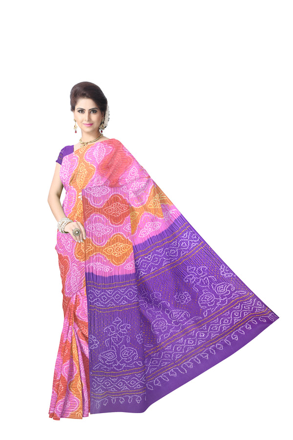 Lavender Multi Color Banarasi Georgette Saree