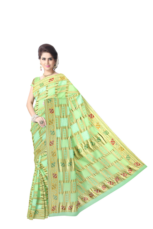 All Over Pista Color Fancy Design  Banarasi Georgette Saree