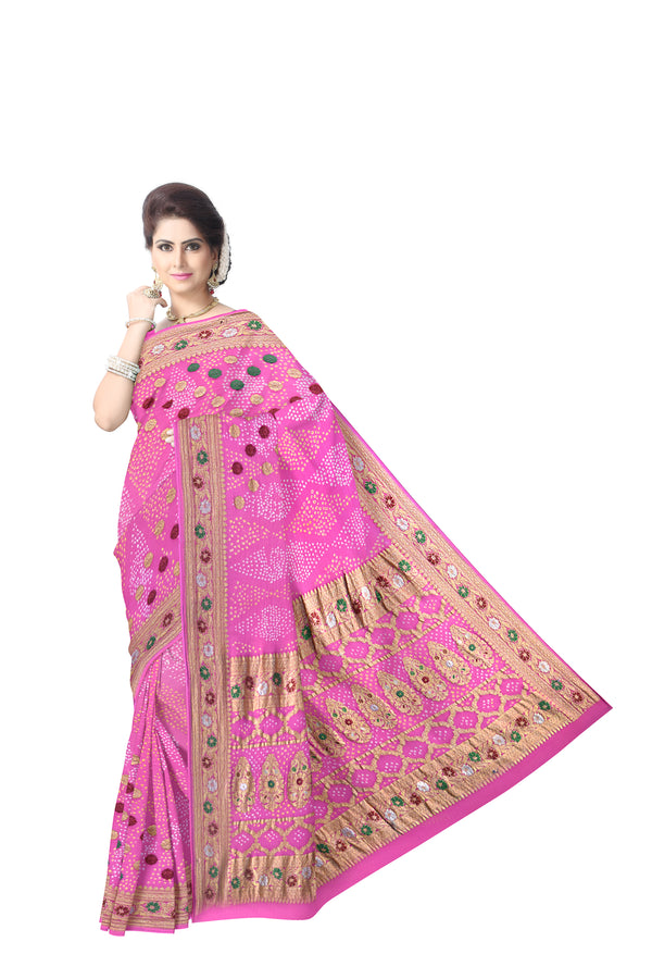 All Over Pink Color Fancy Design Banarasi Georgette Saree