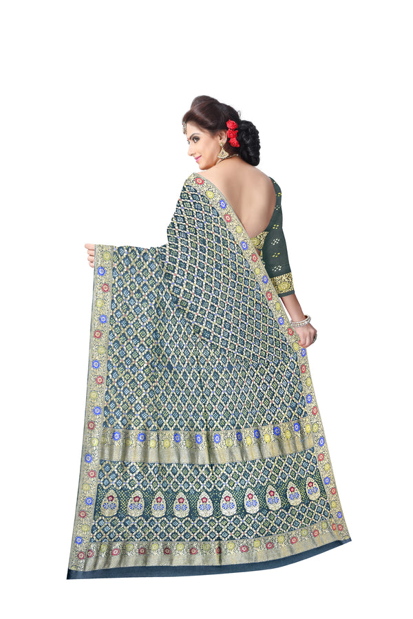 All Over Green Color Checks Design  Banarasi Georgette Saree
