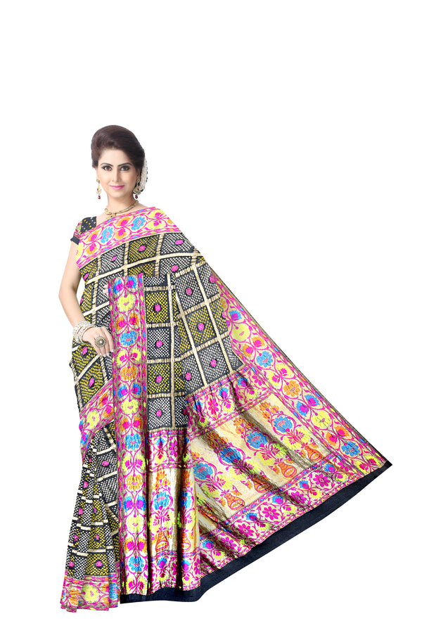 All Over Black Color Checks Design Banarasi Georgette Saree
