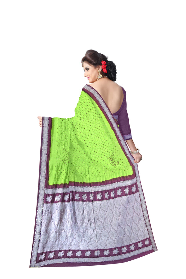 Green And Purple Color Dupion Sik Bandhani Saree