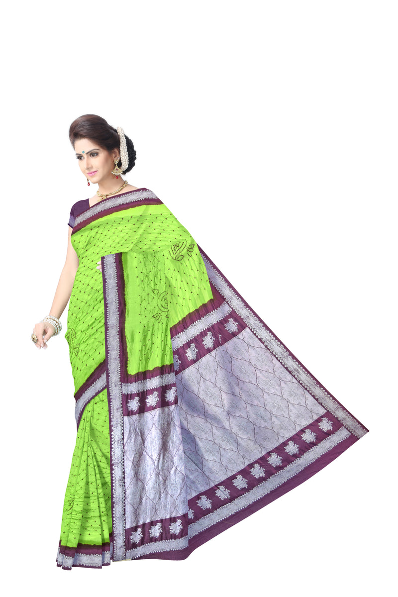 Green And Purple Color Dupion Sik Bandhani Saree - KalaSanskruti Retail Private Limited