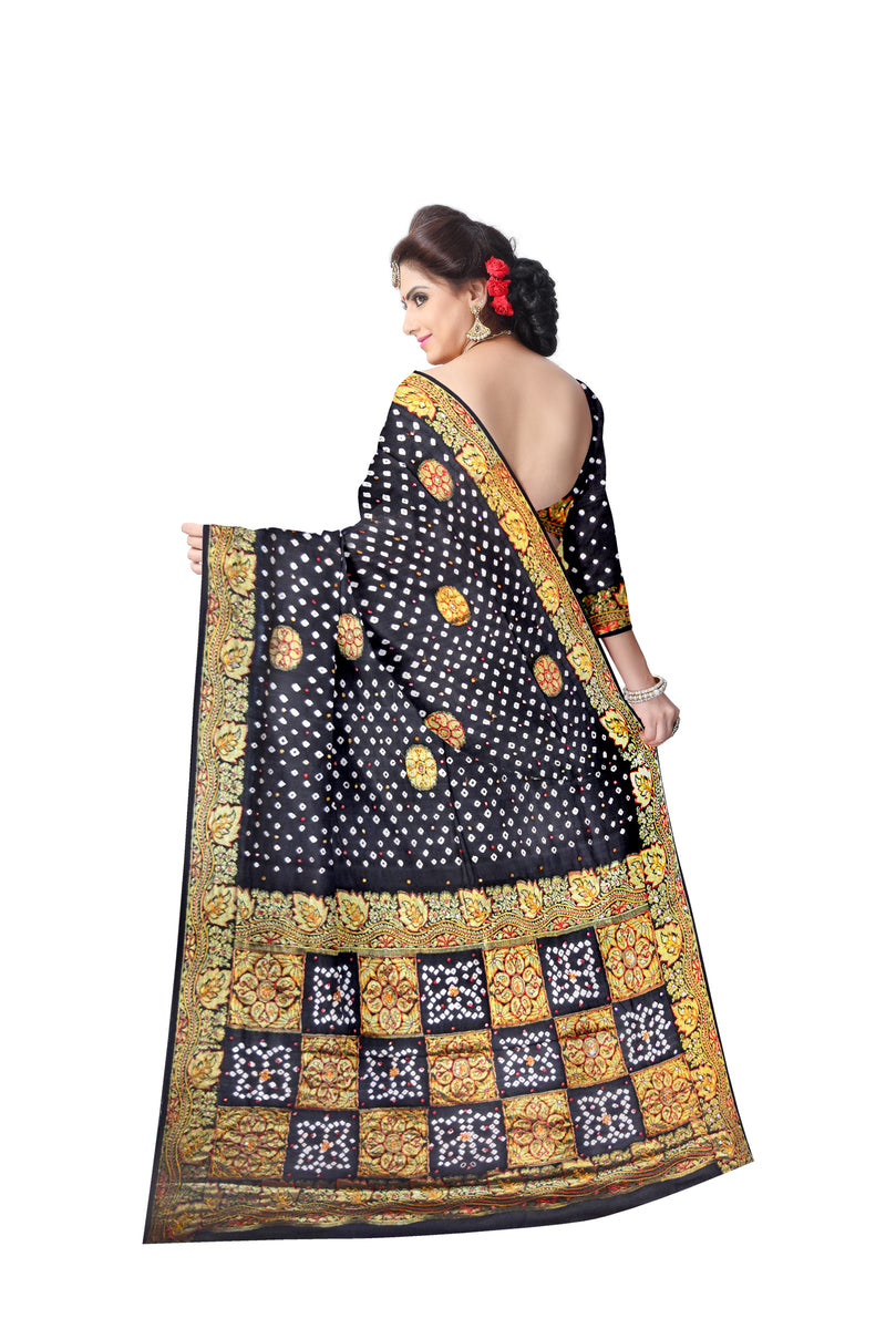 All Over Black Color Hand Work Design Art Silk Bandhani Saree