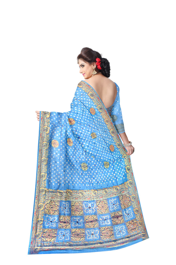 All Over Sky Blue Color  Hand Work Design Art Silk Bandhani Saree
