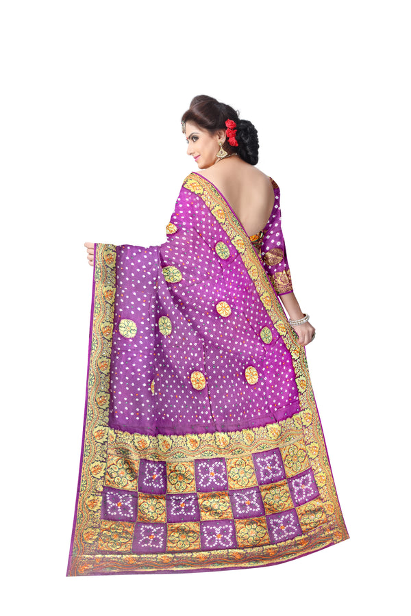 All Over Magenta Color Hand Work Design Art Silk Bandhani Saree