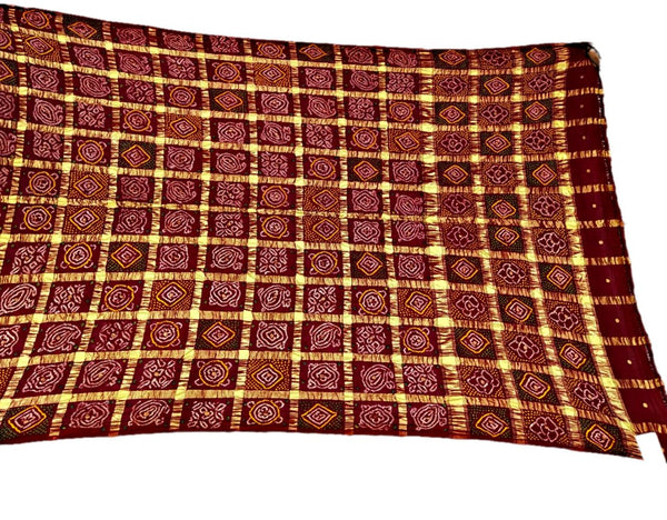 All Over Maroon Color Checks Design Cotton Bandhani Gharchora Saree - KalaSanskruti Retail Private Limited
