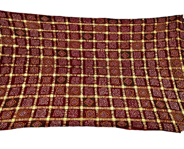 All Over Maroon Color Checks Design Cotton Bandhani Gharchora Saree