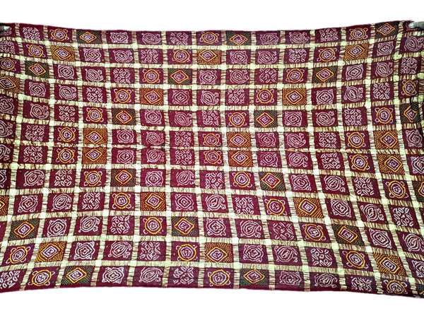 All Over Maroon Color Checks Fancy Design Cotton Bandhani Gharchora Saree - KalaSanskruti Retail Private Limited