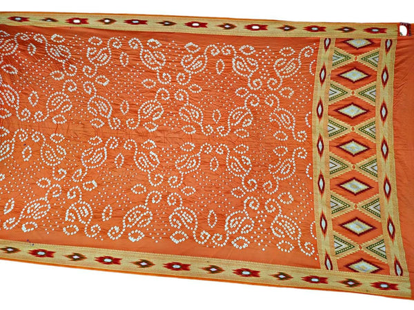 All Over Orange Color Fancy Design Gadhwal Silk Bandhani Saree