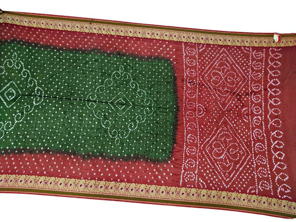 Red And Green Color Fancy Design Gadhwal Silk Bandhani Saree