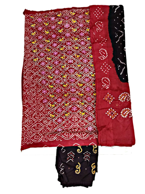 Maroon And Black Color Fancy Design Hand Work Cotton Satin Bandhani Dress Material