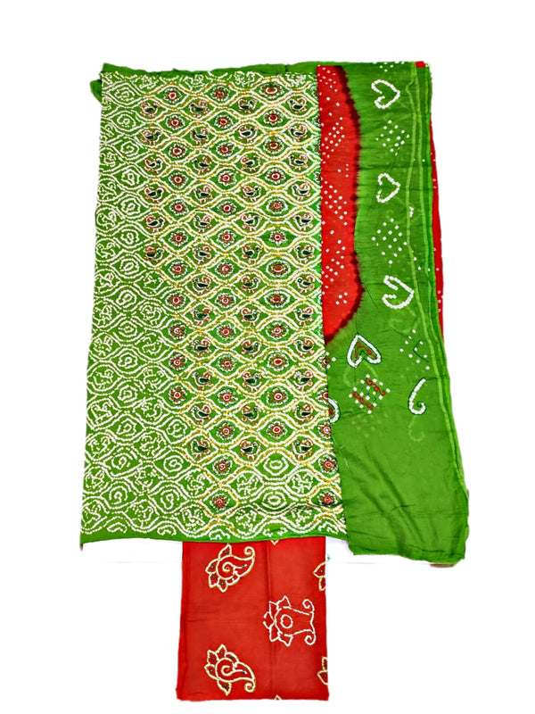 Parrot Green And Orange Color Fancy Design Hand Work Cotton Satin Bandhani Dress Material