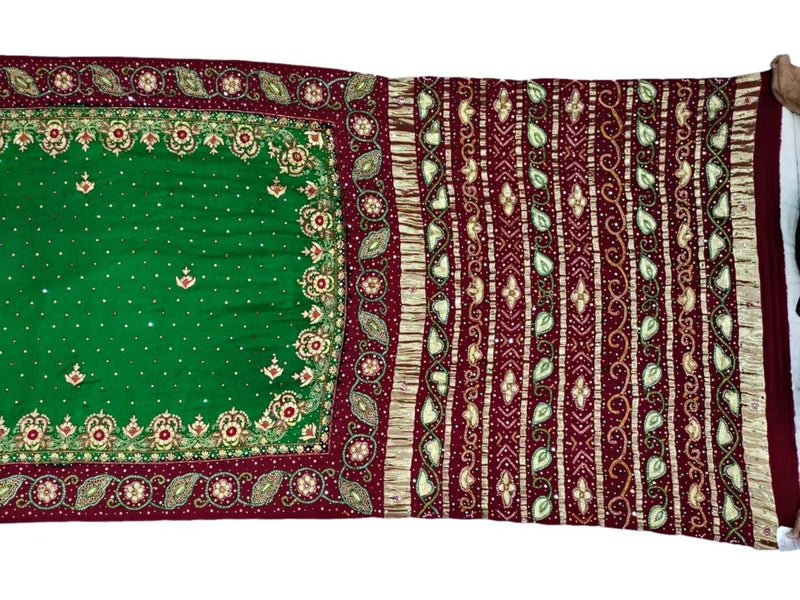 Green And Red Aabhla And Thread Work Design Gaji Silk Bandhani Saree