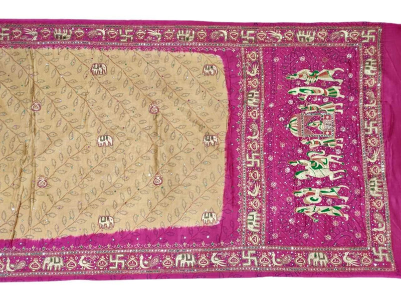 Chiku And Pink Aabhla And Thread Work Design Gaji Silk Bandhani Saree