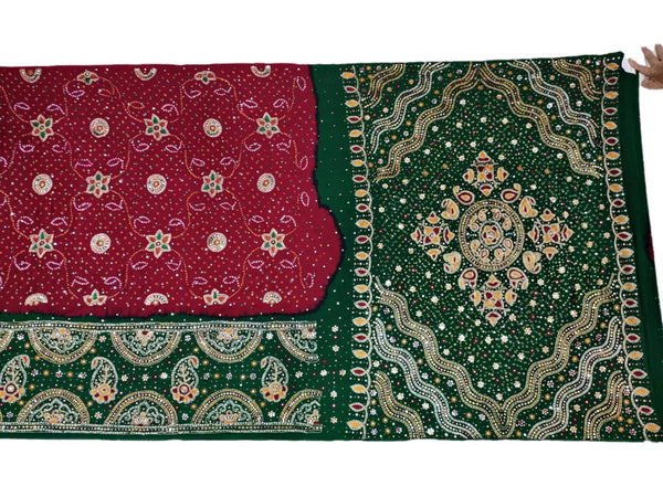 Red And Green Aabhla And Thread Work Design Gaji Silk Bandhani Saree