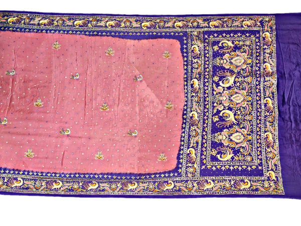 Gajri And Purple Aabhla And Thread Work Design Gaji Silk Bandhani Saree