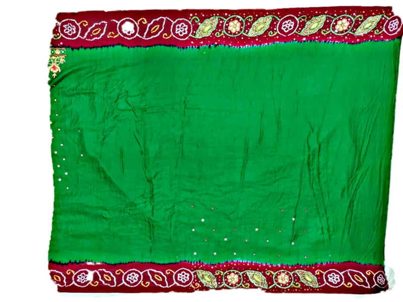 Green And Red Aabhla And Thread Work Design Gaji Silk Bandhani Saree - KalaSanskruti Retail Private Limited
