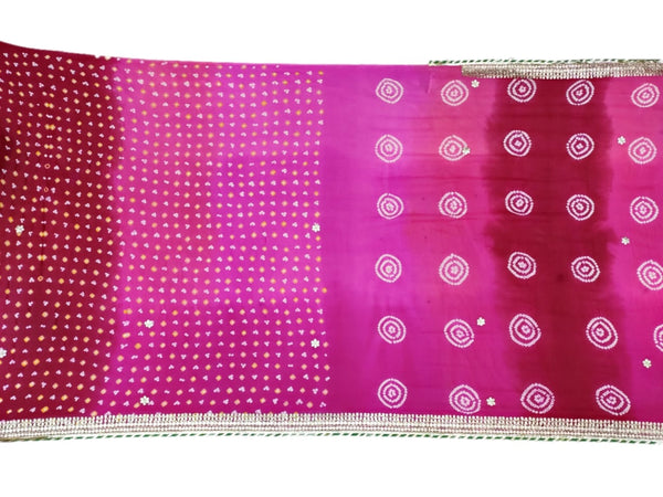 All Over Pink Shaded Color Fancy Design Pure Crepe Bandhani Saree