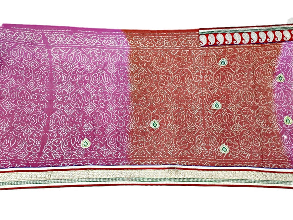 Orange And Pink Shaded Color Pure Crepe Bandhani Saree