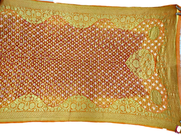 Golden And Orange Color Janglow Design Art Silk Bandhani Dupatta - KalaSanskruti Retail Private Limited
