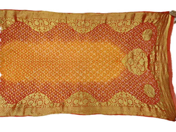 Orange And Golden Color Janglow Design Art Silk Bandhani Dupatta - KalaSanskruti Retail Private Limited