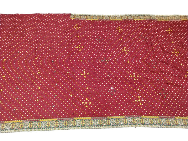 All Over Red Color Aabhla Work Design Gaji Silk Bandhani Saree - KalaSanskruti Retail Private Limited