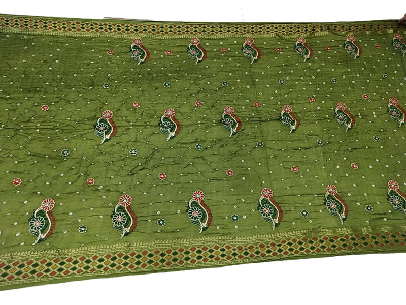 All Over Mahendi Green Color Fancy Design Art Silk Bandhani Saree - KalaSanskruti Retail Private Limited
