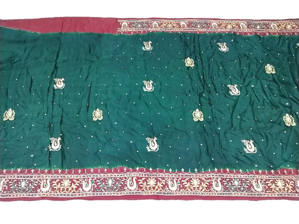 Green And Red Color Aabhla Work Design Gaji Silk Bandhani Saree - KalaSanskruti Retail Private Limited