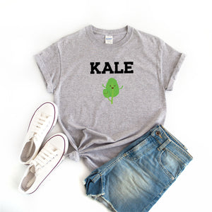 Women's Kale Vegan T-Shirt Grey - Quote My Gift