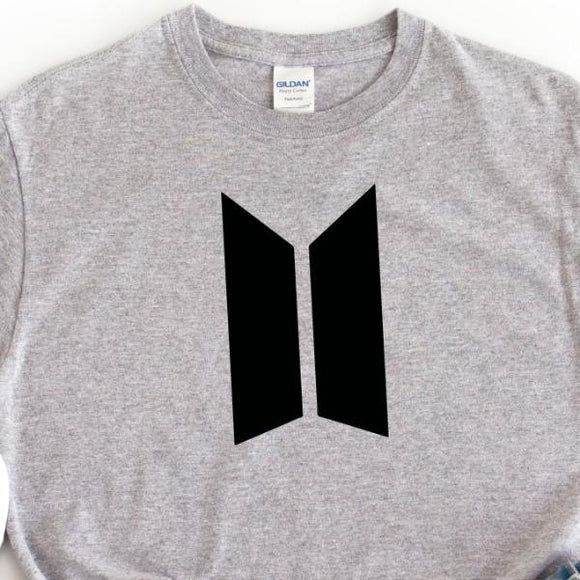 BTS Logo Unisex Grey T-Shirt - Quote My Gift