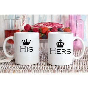 His And Hers Crown Couple Mugs - Quote My Gift