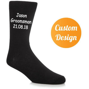 Personalised Men's Black Wedding Socks - Quote My Gift