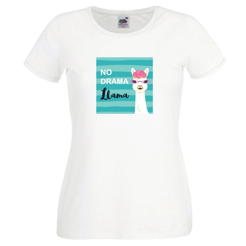 No Drama Llama Ladies Funny White T Shirt - Quote My Gift